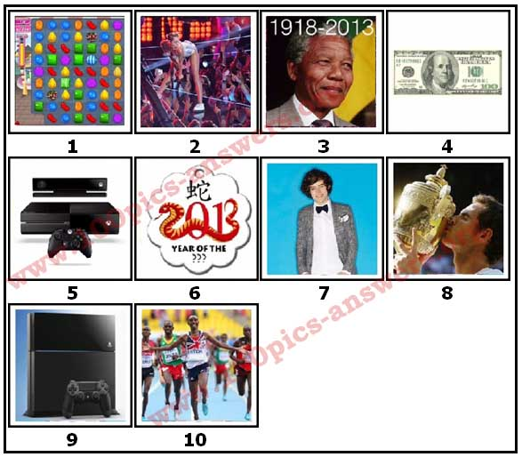 100 Pics 2013 Quiz Answers Level 1