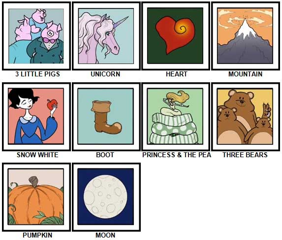 100 Pics Fairy Tales Level 1-10 Answers