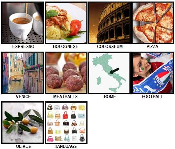 100 Pics I Love Italy Level 1-10 Answers