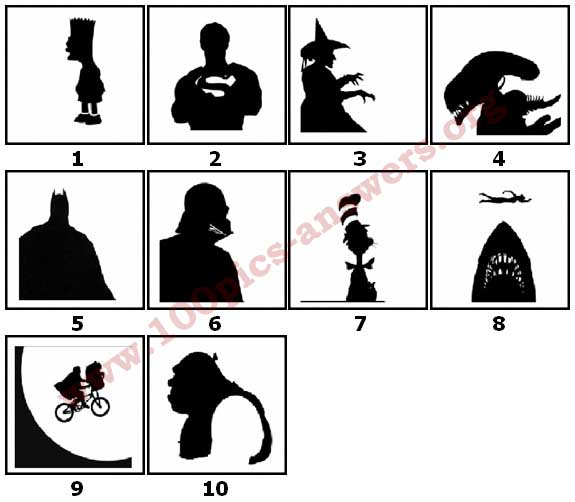 100 Pics Silhouettes Answers Level 1