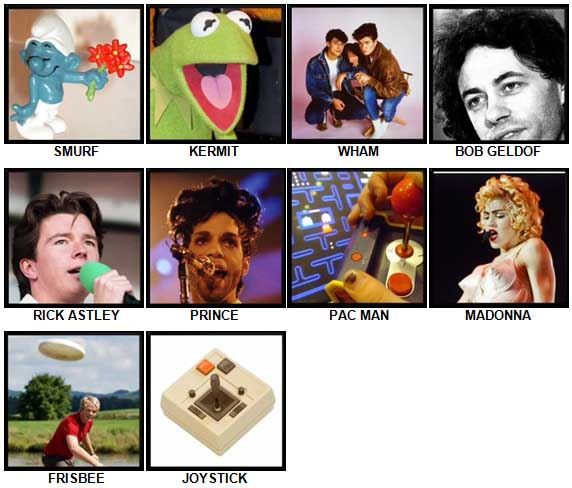 100 Pics The 1980s Level 1-10 Answers
