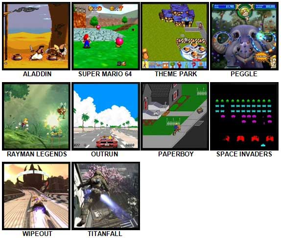 100 Pics Video Games 2 Level 1-10 Answers