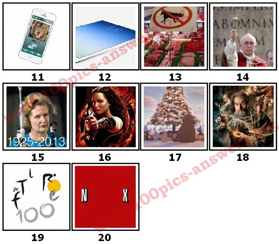 100 Pics 2013 Quiz Answers Level 11