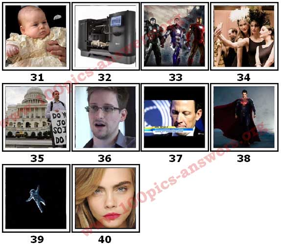 100 Pics 2013 Quiz Answers Level 31