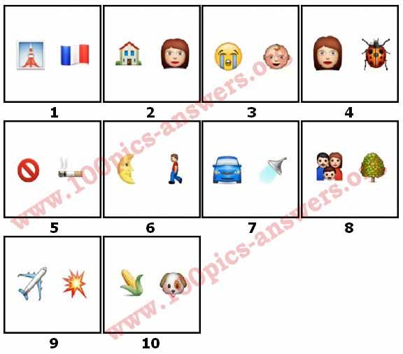 100 Pics Emoji Quiz 3 Level 1 Answers