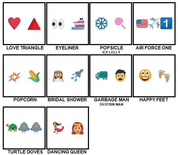 100 Pics Emoji Quiz 3 Level 11-20 Answers