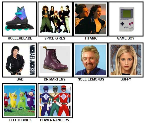 100 Pics I Love 1990s Answers 1-10