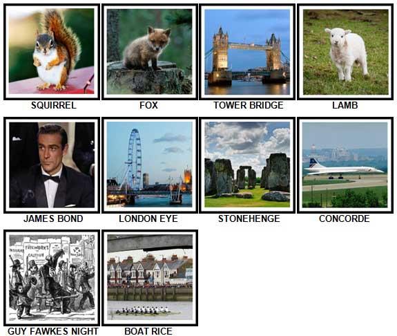 100 Pics I Love UK Level 31-40 Answers