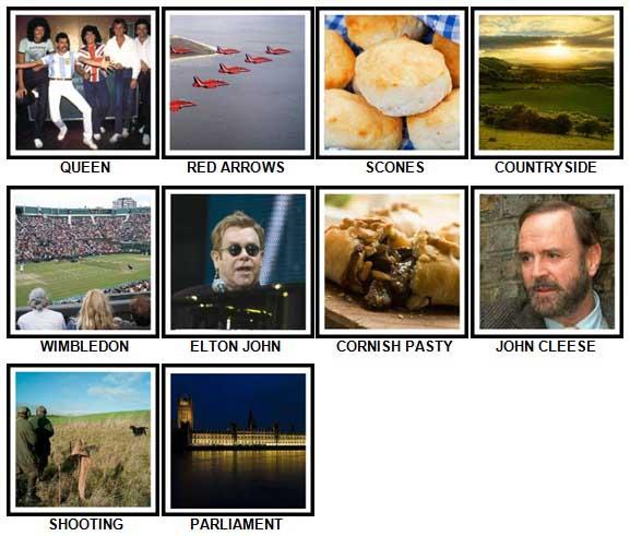 100 Pics I Love UK Level 41-50 Answers