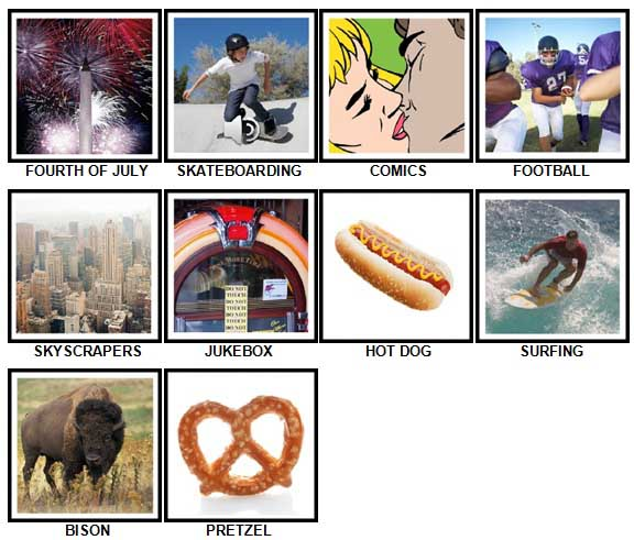 100 Pics I Love USA Level 21-30 Answers