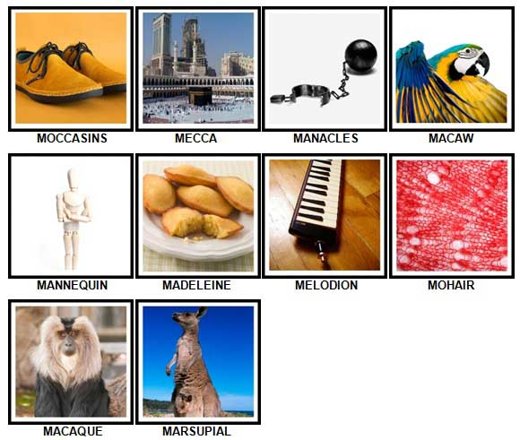 100 Pics M is For Level 51-60 Answers