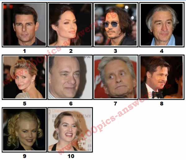 100 Pics Movie Stars Level 1 Answers