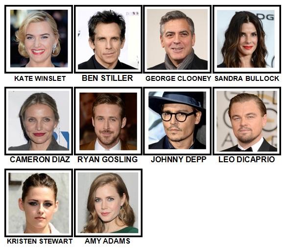 100 Pics Movie Stars Level 11-20 Answers