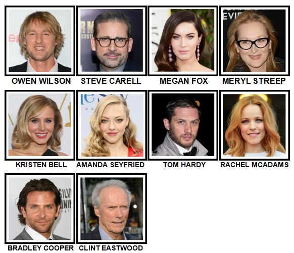 100 Pics Movie Stars Level 31-40 Answers