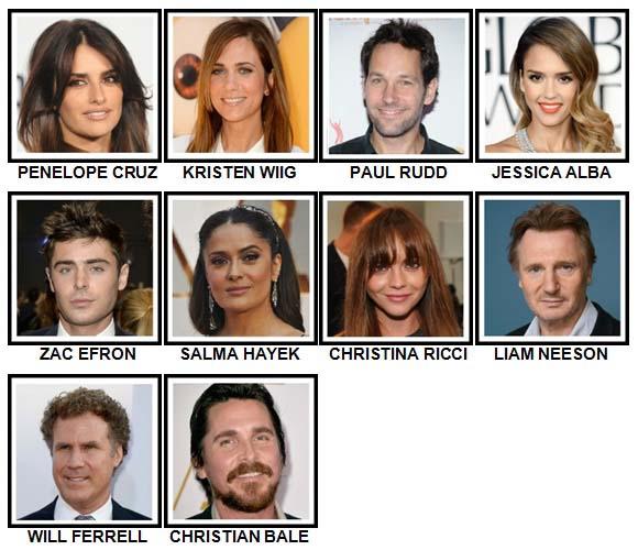 100 Pics Movie Stars Level 41-50 Answers
