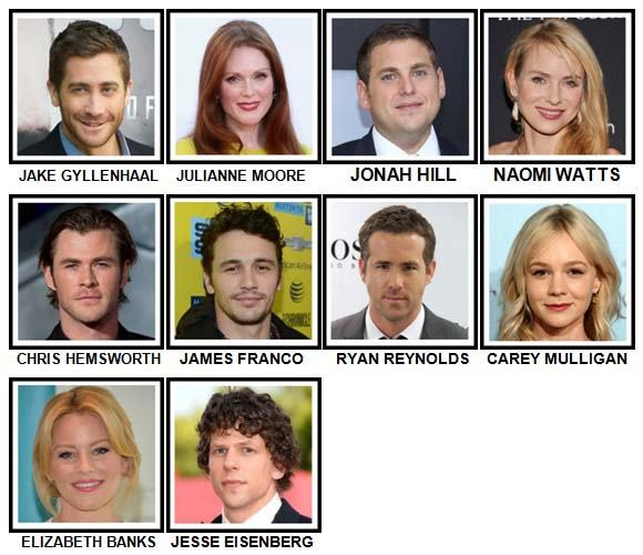 100 Pics Movie Stars Level 51-60 Answers