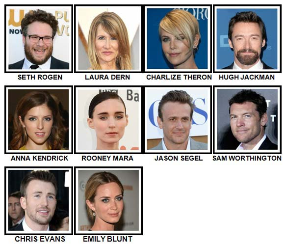100 Pics Movie Stars Level 61-70 Answers