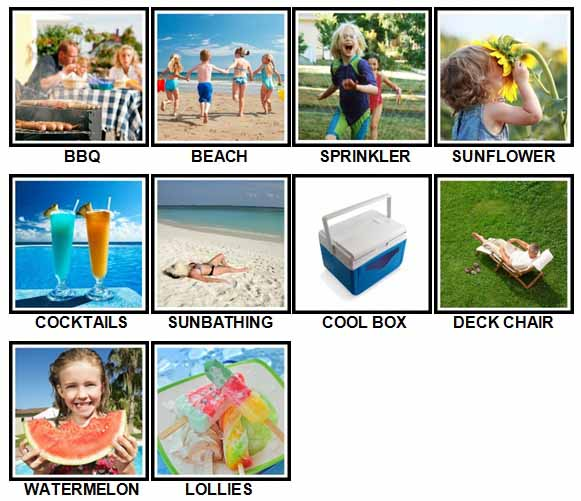 100 Pics Summer Answers Level 1-10