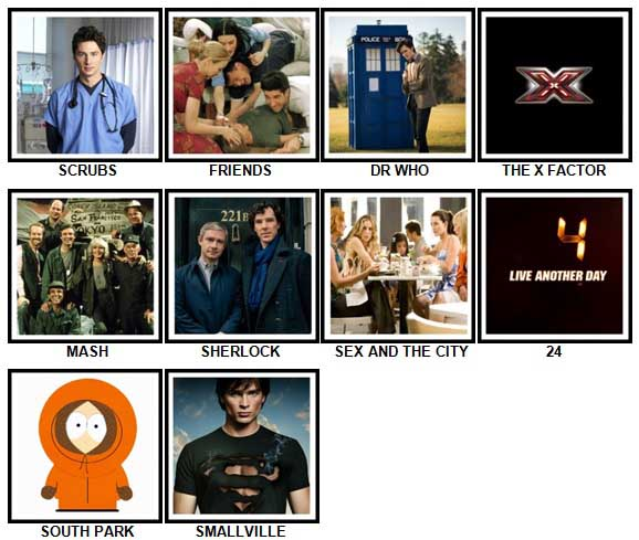 100 Pics TV Shows Answers Level 1-10