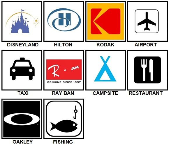 100 Pics Vacation Logos Answers Level 1-10