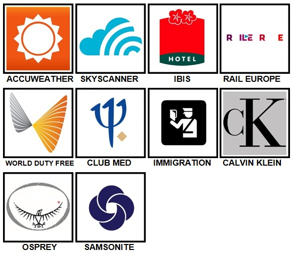 100 Pics Vacation Logos Level 31-40 Answers