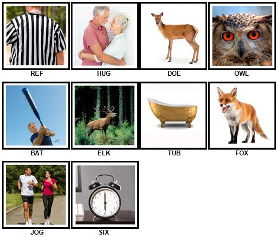 100 Pics 3 Letter Words Answers 1-10
