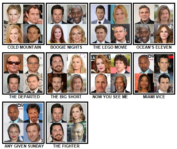 100 Pics 4 Stars 1 Movie Level 51-60 Answers