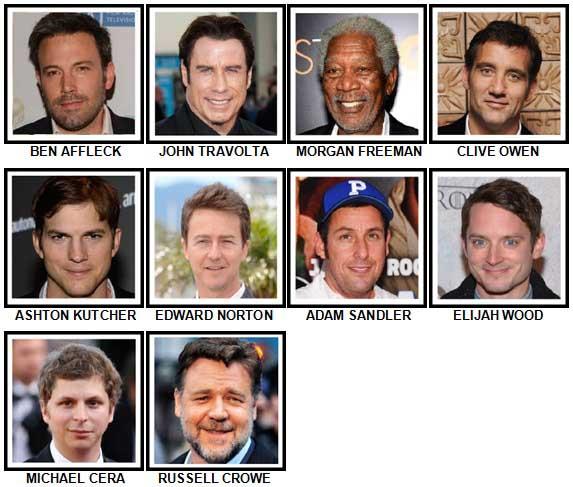 100 Pics Actors Level 21-30 Answers