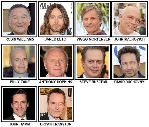 100 Pics Actors Level 41-50 Answers