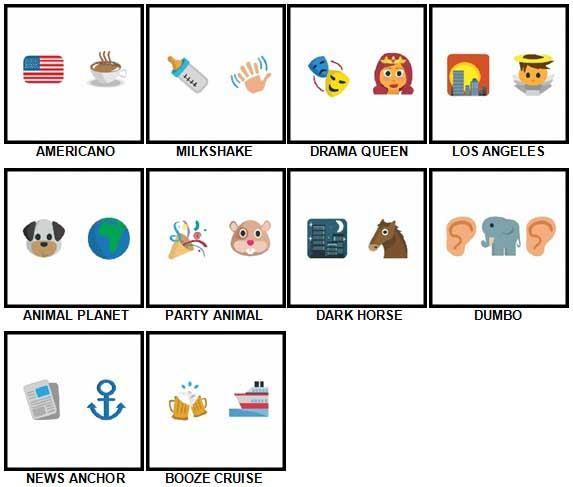 100 Pics Emoji Quiz 2 Level 21-30 Answers