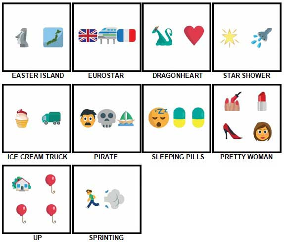 100 Pics Emoji Quiz 2 Level 51-60 Answers