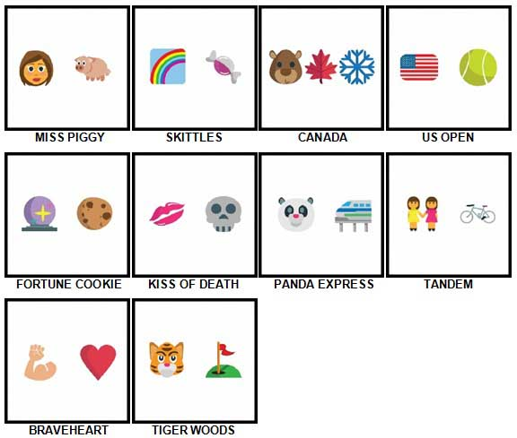 100 Pics Emoji Quiz 2 Level 61-70 Answers