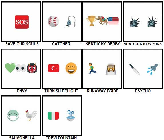 100 Pics Emoji Quiz 2 Level 81-90 Answers