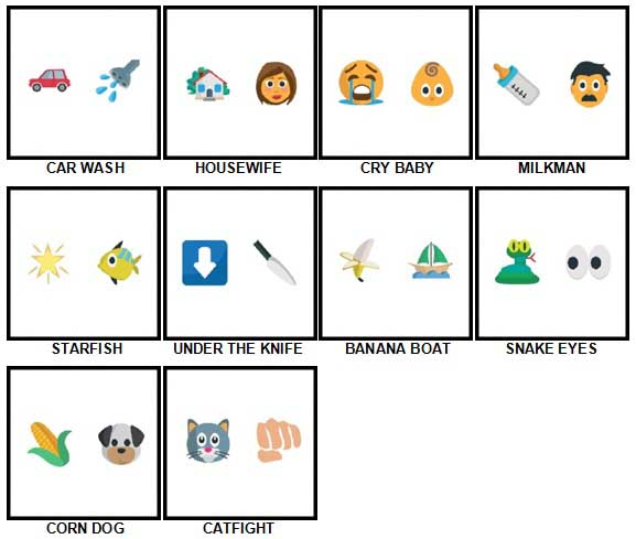 100 Pics Emoji Quiz 3 Answers 1-10