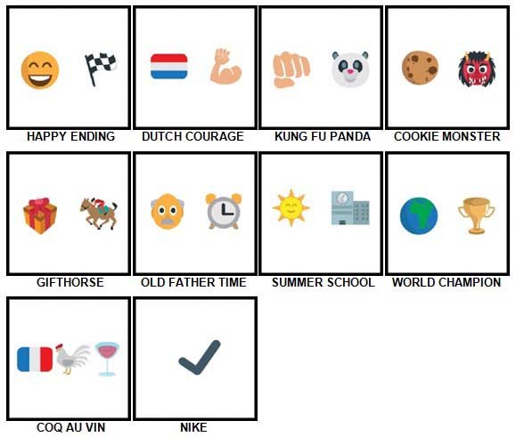 100 Pics Emoji Quiz 3 Level 61-70 Answers