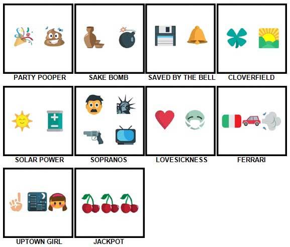 100 Pics Emoji Quiz 3 Level 71-80 Answers