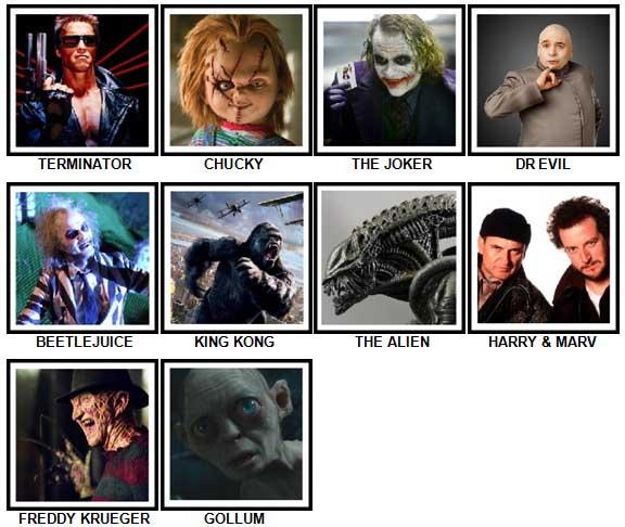 100 Pics Movie Villains Answers 1-10