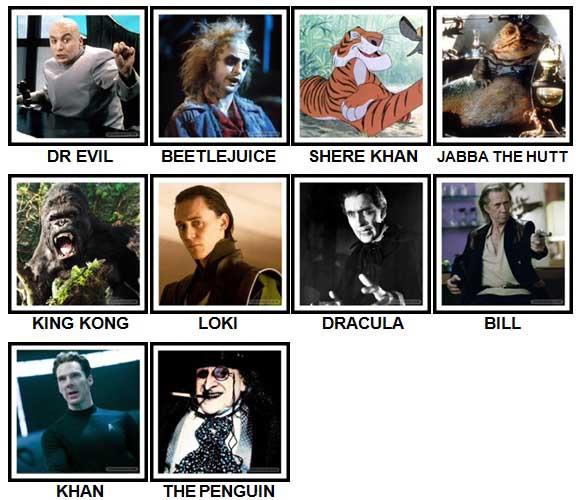 100 Pics Movie Villains Level 11-20 Answers