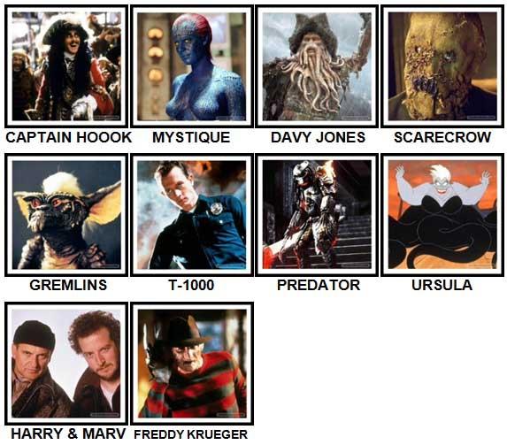 100 Pics Movie Villains Level 21-30 Answers