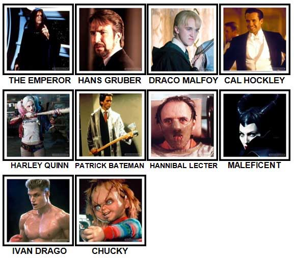 100 Pics Movie Villains Level 41-50 Answers
