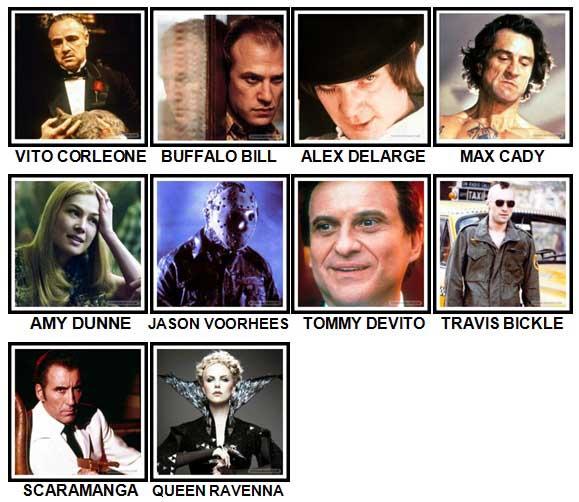100 Pics Movie Villains Level 61-70 Answers