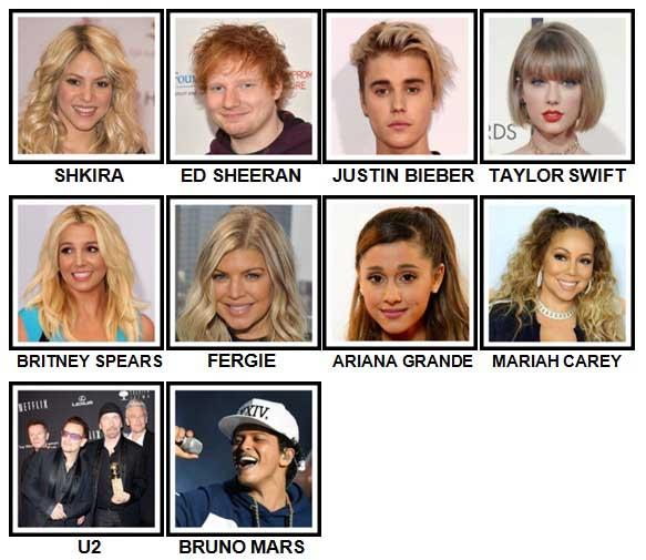 100 Pics Music Stars 1 Level 11-20 Answers