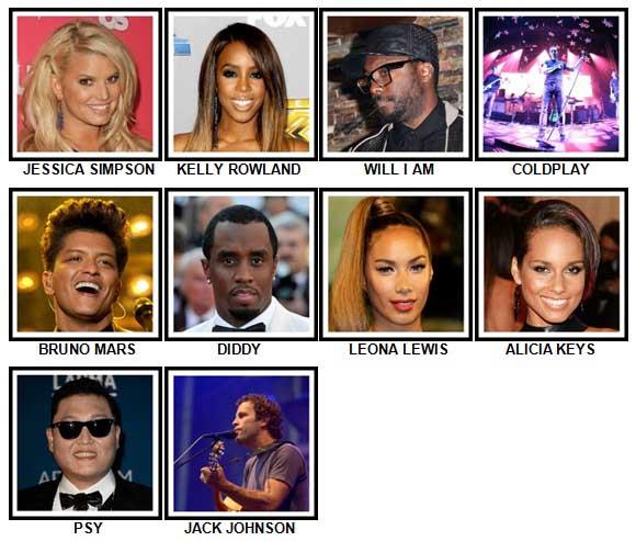 100 Pics Music Stars 1 Level 21-30 Answers