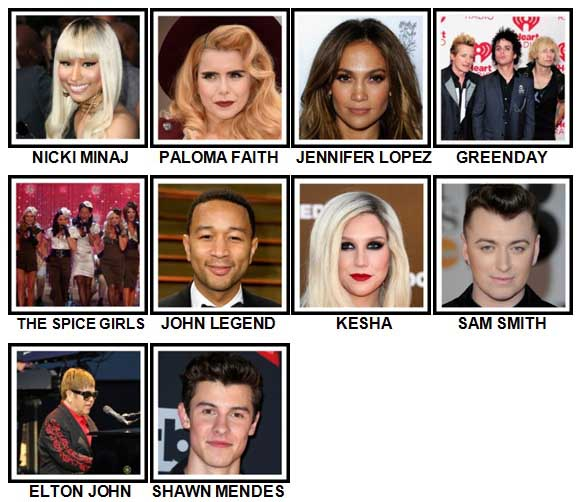 100 Pics Music Stars 1 Level 31-40 Answers