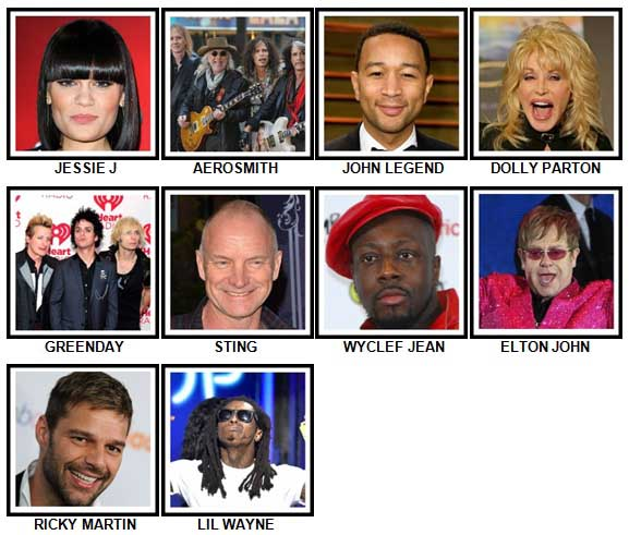 100 Pics Music Stars 1 Level 31-40 Answers