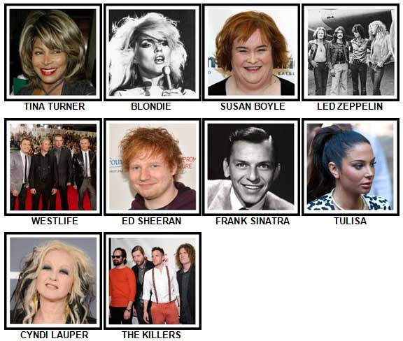 100 Pics Music Stars 1 Level 41-50 Answers
