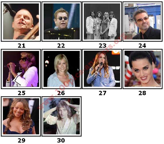 100 Pics Music Stars Level 21 Answers