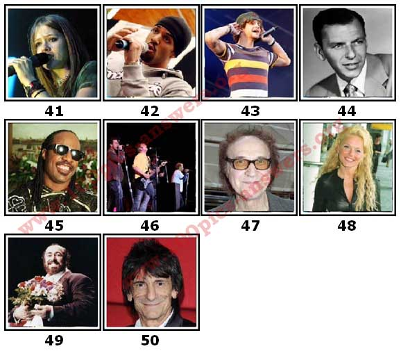 100 Pics Music Stars Level 41 Answers