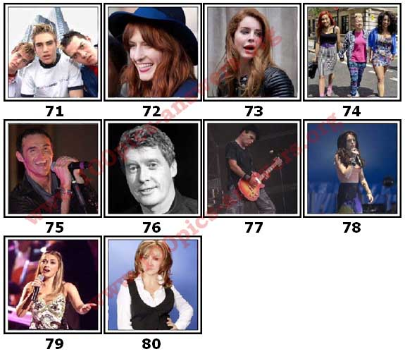 100 Pics Music Stars Level 71 Answers