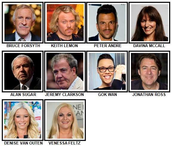 100 Pics TV Stars Level 11-20 Answers